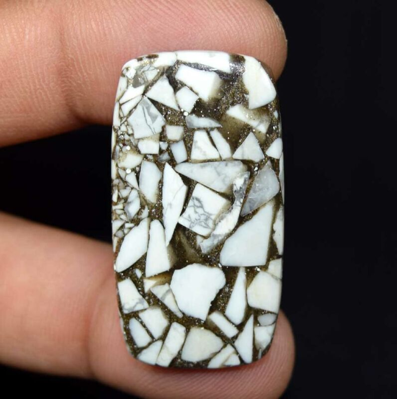 29.15 Cts. Reconstructed Copper White Howlite Cushion Cabochon Loose Gemstone