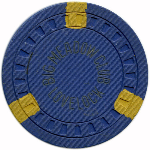 1943-1960 Big Meadow Club Lovelock, Nevada NV $10 Hub Mold Casino Chip