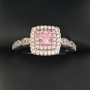 Gorgeous Princess Cut Pink Sapphire Diamond Halo Ring Women Engagement Jewelry