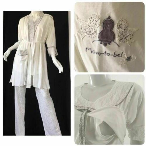 Artis Collection Maternity Nursing Pajama Set 3 Pieces L White