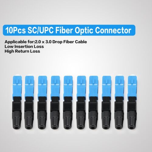 10pcs Fiber Optic Quick Fast Connector Adapter Fr UPC FTTH ODF SC Single Mode IA