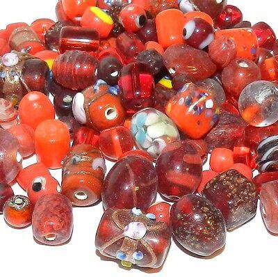 G2555d Red Handblown Lampwork Glass 6-19mm Bead Assortment 100 Grams