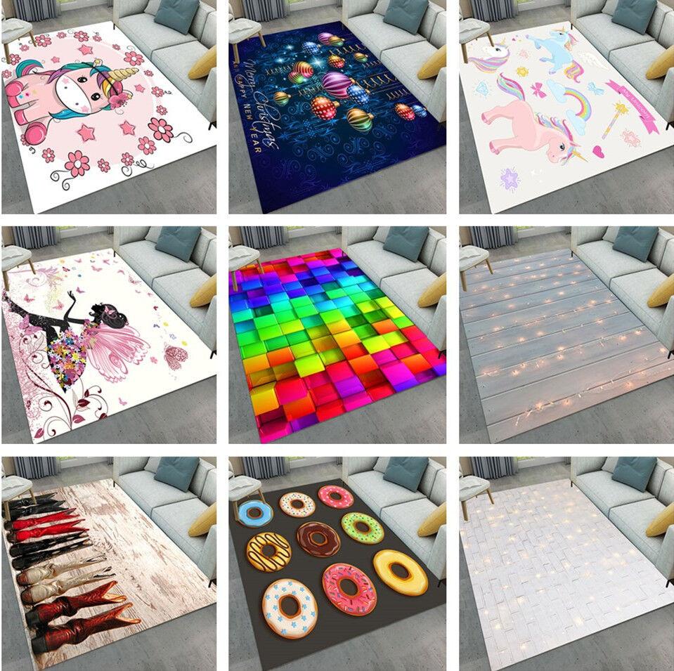 Abstract Christmas Unicorn Home Kids Soft Carpet Floor Livin