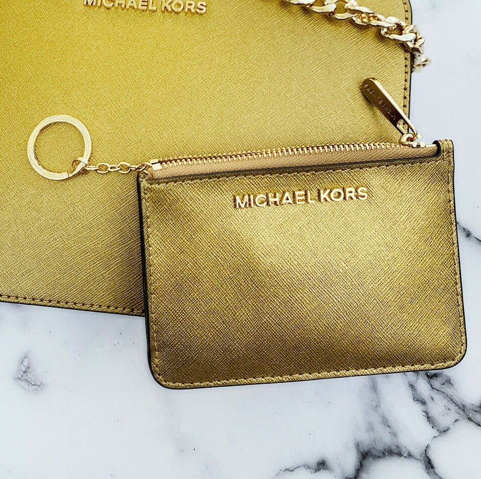 Michael Kors Jet Set Travel Small Top Zip Coin Pouch ID Holder Key Ring Wallet Old Gold