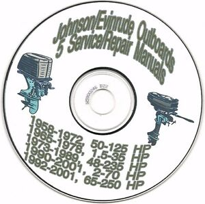 (5) Five Johnson/Evinrude Outboards Service Repair Manuals on CD