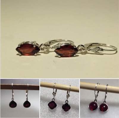 Sterling Silver Natural Red Garnet Lever Back/Stud Earrings *Various Styles* Ruby Leverback Gem Earrings
