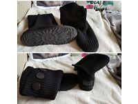 Genuine black knitted ugg boots size uk 3.5