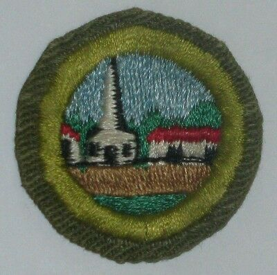 Boy Scout CITIZENSHIP IN THE COMMUNITY Merit Badge Type E (1952-60) Khaki (Boy Scout Merit Badge Citizenship In The Community)