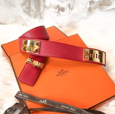 Used, Hermes Collier De Chien Red & Gold Leather Stud Belt Sz 70 for sale  Mars