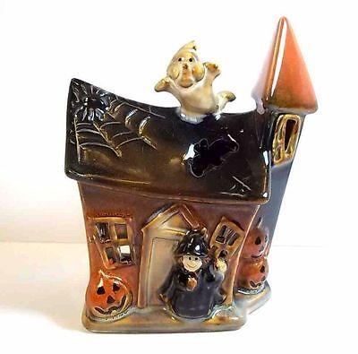 "Glazed pottery Halloween house tea light holder ghost witch pumpkins 5"" tall"