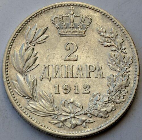 Serbia, 2 Dinara 1912, King Petar I, Yugoslavia, silver coin