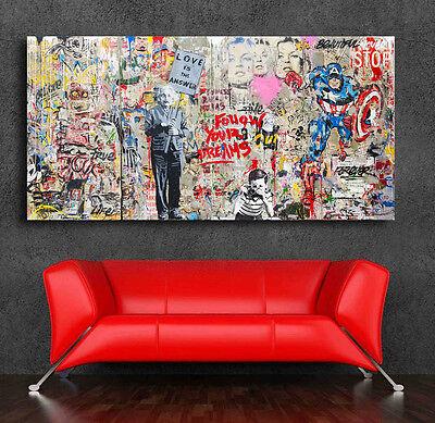 Graffiti art Einstein Mural  42 x 24 Canvas Print Giclee Mr. Brainwash/Banksy