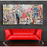Graffiti art Einstein Mural  36 x 20 Canvas Print Giclee Mr. Brainwash/Banksy