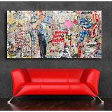 Graffiti art Einstein Mural  36 x 20 Canvas Print Giclee Mr. Brainwash/Banksy