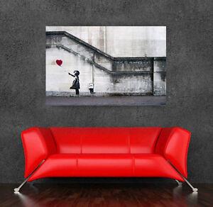 Banksy  street art Graffiti Balloon Girl 36 x 24  Canvas Print  - There is Hope