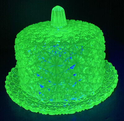 VINTAGE URANIUM GLASS DAISY BUTTON COVERED BUTTER / CHEESE