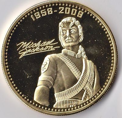 1 oz Michael Jackson round Gold Plated coin. Uncirculated