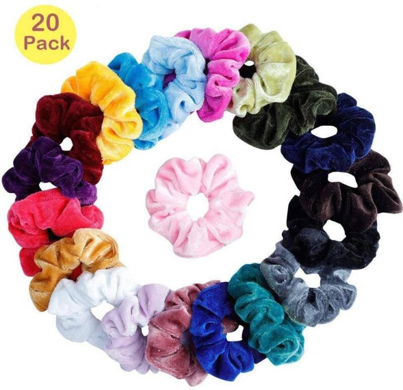 20 x  Haargummi Samt Haarband Zopfband Zopfgummi Frauen Velour Scrunchie Dick