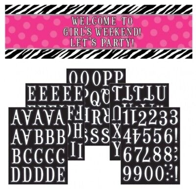 Zebra Pink Party Supplies Personalize it Giant Banner Kit - Pink Zebra Party Supplies