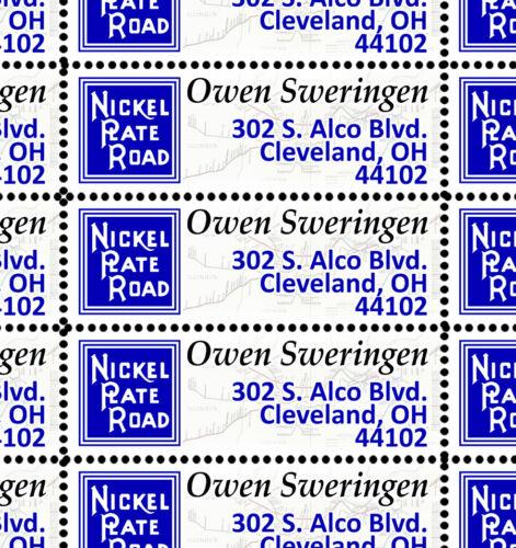 Nickel Plate Road - Custom Return Address Stamps - Gummed & Perforated Sheet/36