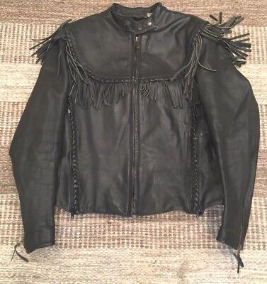 Harley Davidson Leather Jacket VTG Embossed WILLIE G FRINGE 98111-86VW Womens 40
