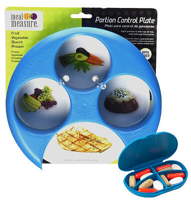 (Meal Measure 1 Portion Control Plate (Blue) + 4 Compartment Pocket Size Pill Box)