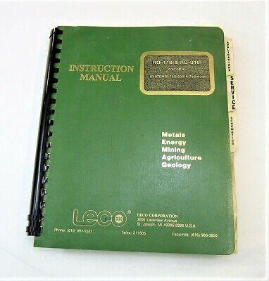 Leco Ro-116 Ro-316 Oxygen Systems 782-500 783-600 Instruction Manual 1982