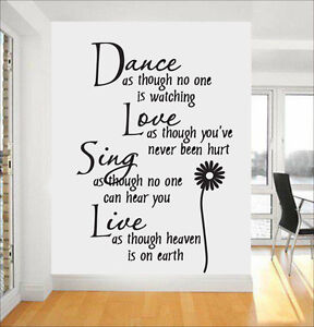 Dance quote wall stickers ebay for Bedroom furniture quotes