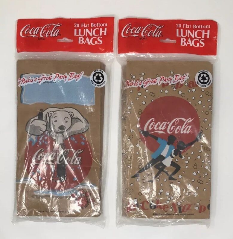 "2001 Coca-Cola Lunch Bags/Sacks 20 Count Flat Bottom Bags 6""x 3 1/2""x 11"" NEW!"