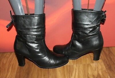 Black real leather lace up pirate pixie pull on Ravel ankle boots 5 38 B16 Lace Up Pirate