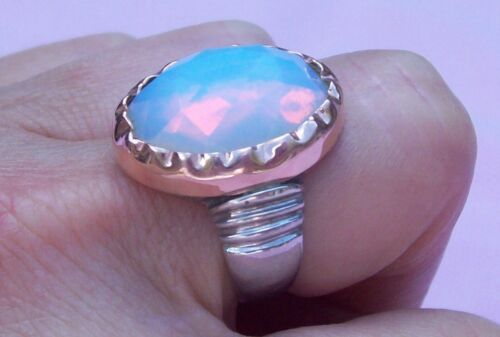 Vintage Sterling Silver 14K Rose Gold Fiery Quartz Opal Cocktail Ring Size 6.5-7