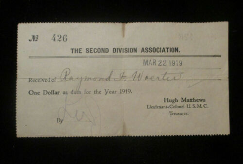 ORIGINAL WW1 1919 SECOND 2nd DIVISION ASSOCIATION RECEIPT. DUES FOR 1919