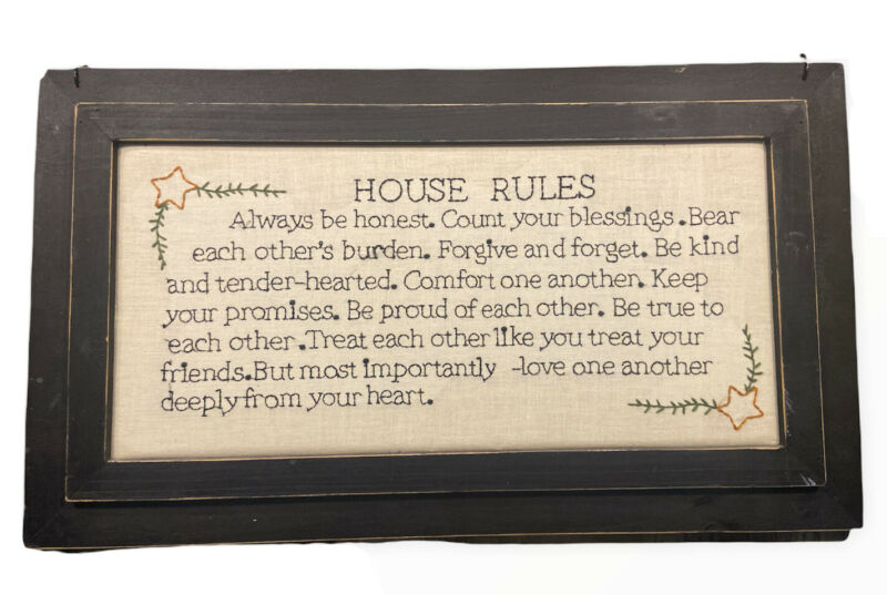 FRAMED CROSS STITCH FINISHED HOUSE RULES WOODN FRAME NEEDLEWORK COUNTRY DECOR