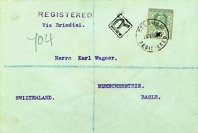 CEYLON 1912 PRE WWI 25c KE ON COLOMBO REGD COVER VIA ITALY TO BASEL SWITZERLAND