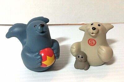 Fisher Price Pair of 2 Seal Animal Figures Mother Father Baby for Noah's Ark Set