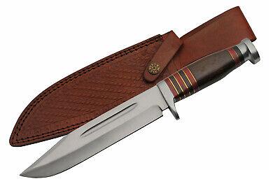 Pakistan PA8009 Dagger Fixed Blade Knife//Brown Wood Handle Brass Sheath