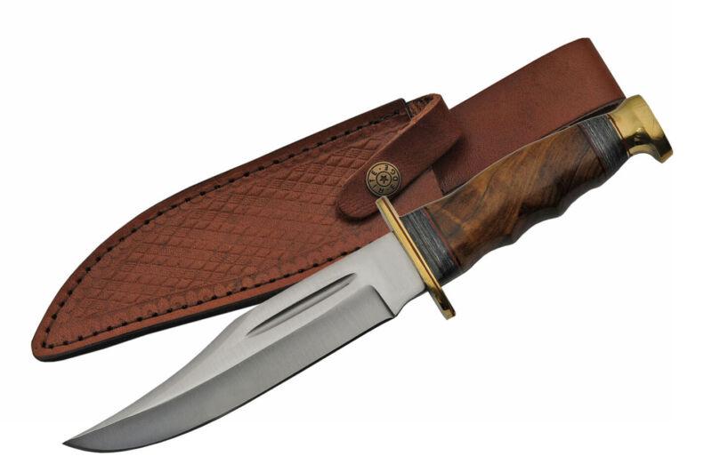 "Bowie Knife   Rite Edge 6.25"" Blade Brown Wood Handle Hunter + Leather Sheath"