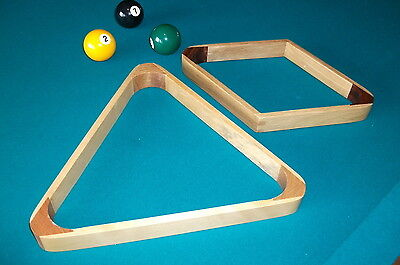 Pool Triangle Rack (Wooden Billiards 9 Ball Pool Rack & standard Wood Triangle Rack Set of 1 each)