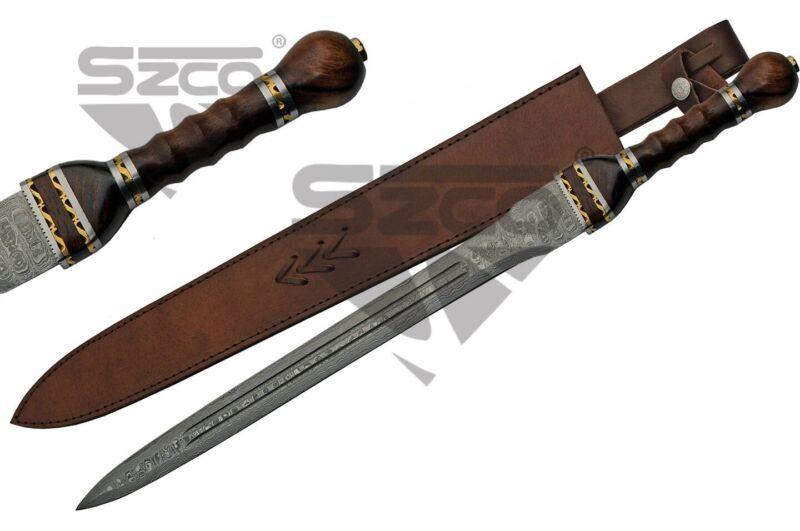 Short Sword | Damascus Steel Blade Roman Gladius Legionnaire + Leather Sheath