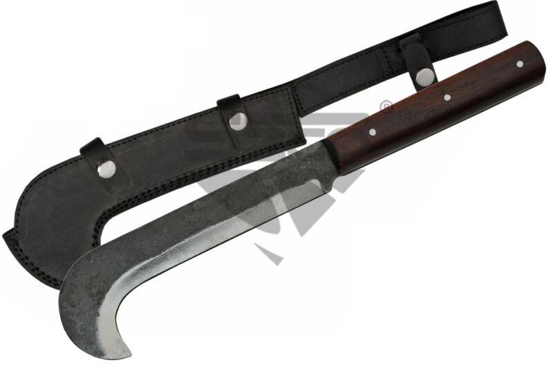 "Fixed Blade Machete | 16"" Overall Carbon Steel Bill Hook Blade w/ Sheath HS-4426"
