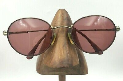 Vintage Gucci Brown Antique Gold Metal Oval Sunglasses Eyeglasses Frames