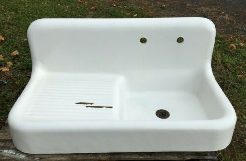 "Antique 42"" High Back Cast Iron White Porcelain VTG Kitchen Farm Sink 1029-20B"