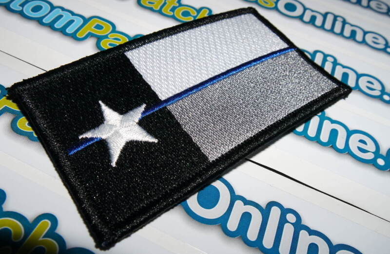 Texas State Flag Patch with Subdued Blue Line Theme Hook Tactical Backing