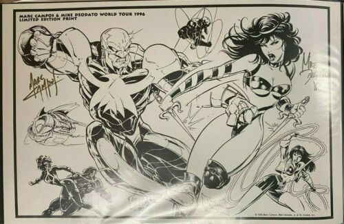 LEGION OF SUPERHEROES MARC CAMPOS & MIKE DEODATO SIGNED PRINT 11 x 17 #oa-1190