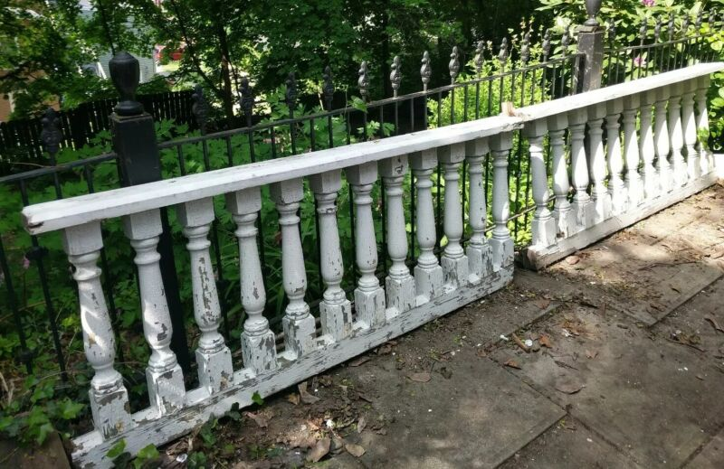 "Lot of 2 c1900 Porch Railing Balustrade Victorian Baluster Sections 26""x5.5""x67"""