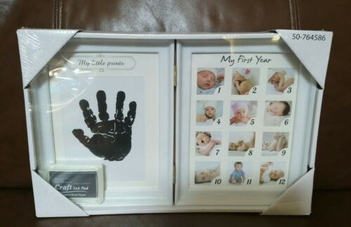 Baby Keepsake Frame 12 Picture Newborn Hand print (White)