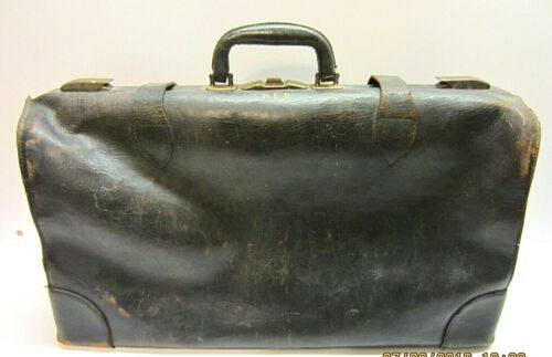 Vintage Large Old Antique Leather Medical Vet Dr Bag Case