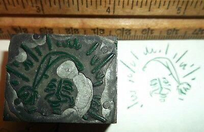 Lk Antique Christmas Santa Claus Zinc Cut Printing Block Cut Letterpress