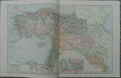 Antique map - Turkey in Asia - printed paper 19th c - for framing - 35x54  cm