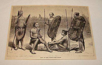 1887 magazine engraving ~ MEN OF THE NIAM-NIAM TRIBE